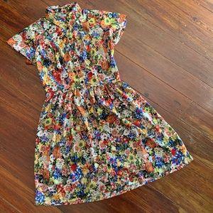 BAR III Floral button-down short-sleeve dress